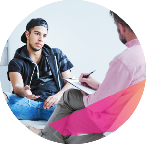 young adult talking to therapist